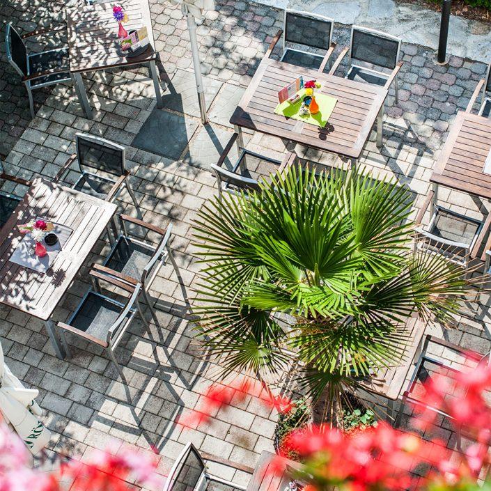 Gastgarten von oben