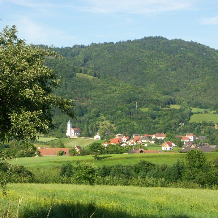 Blick ins Grüne mit Kirche und Dorf